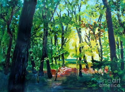 Gouache Abstract Painting - Forest Scene 1 by Kathy Braud