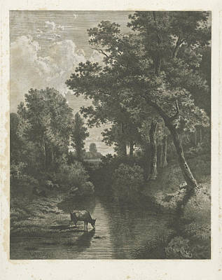 Waterscape Drawing - Forest Scene With Cows In A Stream, Jan Van Lokhorst by Jan Van Lokhorst And Willem Roelofs (i)