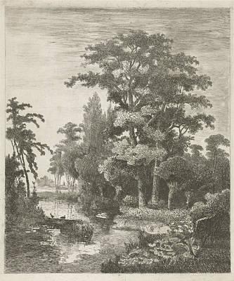 Farm Scene Drawing - Forest Scene With Two Ducks Nesting In A River by Hermanus Jan Hendrik Van Rijkelijkhuysen