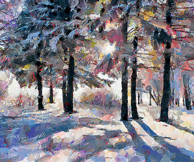 Building Exterior Digital Art - Forest Snow Shadows by Yury Malkov
