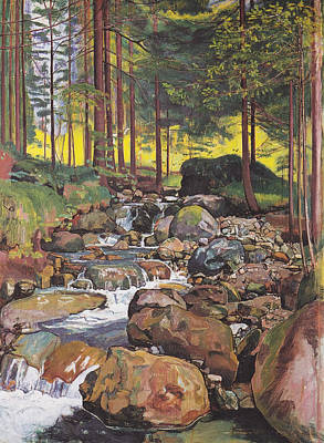 Beautiful Creek Painting - Forest Stream by Mountain Dreams