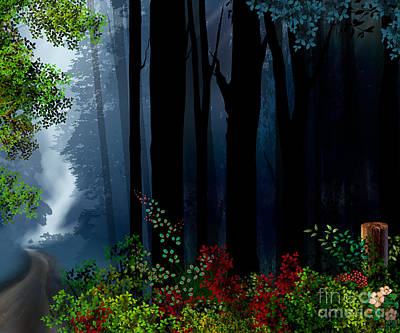 Digital Art Design Digital Art - Forest Trail by Peter Awax