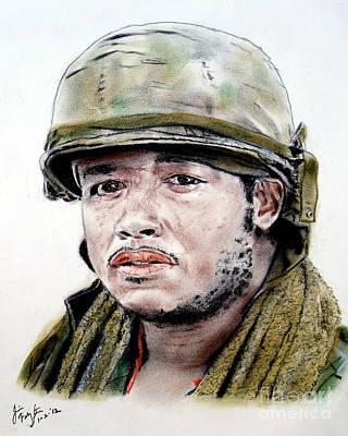 Vietnam War Drawing - Forest Whitaker In Platoon by Jim Fitzpatrick