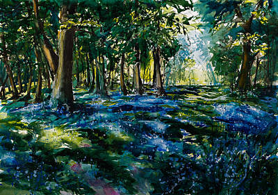 Blue Bells Painting - Forest With Bluebell by Kovacs Anna Brigitta