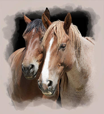 Race Horse Digital Art - Forever Friends by Daniel Hagerman