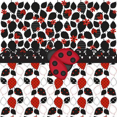 Shower Digital Art - Forever Ladybugs by Debra  Miller