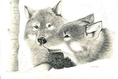 Wolves Drawing - Forever Wolf Love-the Greeting by Joette Snyder