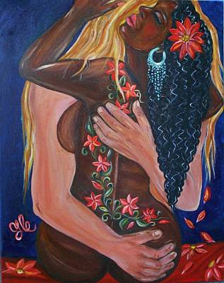 Painting - Forever Yours - Interracial Lovers Series by Yesi Casanova