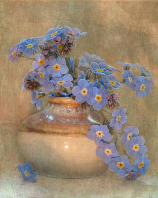 Forget Me Not Bouquet Art Print by Angie Vogel