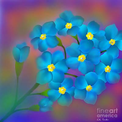 Art Print featuring the digital art Forget- Me -not Flowers by Latha Gokuldas Panicker