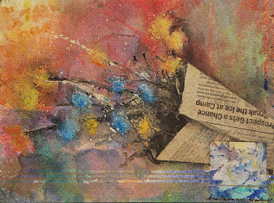 Decoupage Mixed Media - Forget Me Not by James Strohmeyer