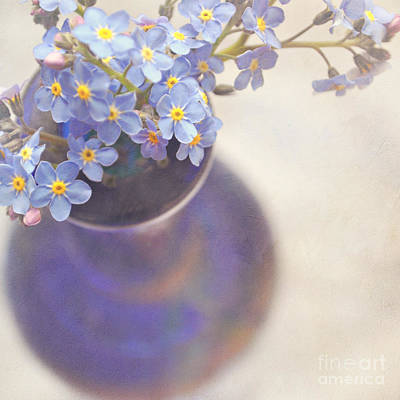 Interior Still Life Digital Art - Forget Me Nots In Blue Vase by Lyn Randle
