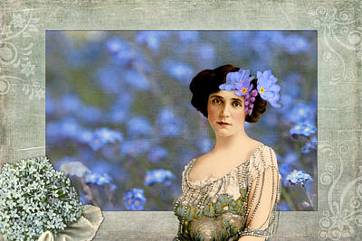 Victorian Era Digital Art - Forget-me-nots Vintage Collage by Peggy Collins