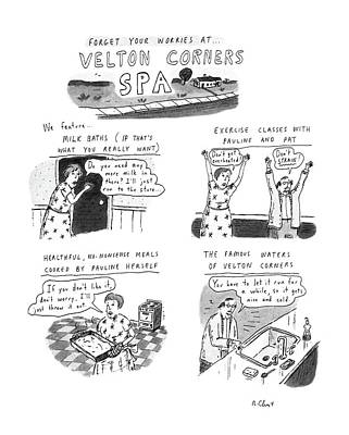 Suburban Drawing - Forget Your Worries At Velton Corners by Roz Chast
