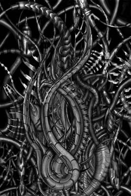 Biomechanic Drawing - Forgoten by Rodrigo Vieira