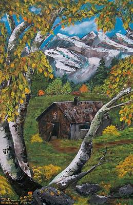 Art Print featuring the painting Forgotten Cabin  by Sharon Duguay