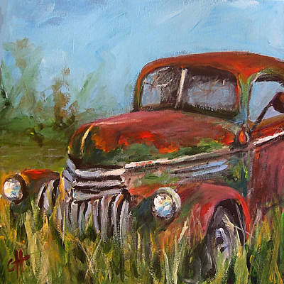 Rusty Cars Wall Art - Painting - Forgotten by Cari Humphry