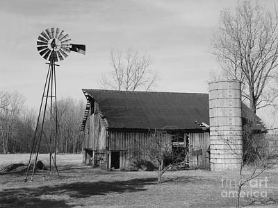 Forgotten Farm In Black And White Art Print by Judy Whitton