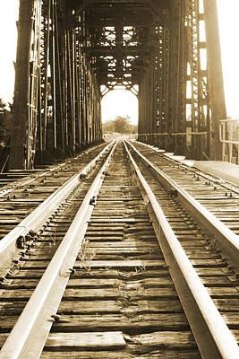 Forgotten Railroad In Sepia Art Print by Grant Little
