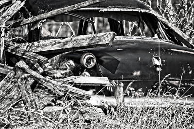 Photograph - Forgotten Vintage Car Black And White by Ms Judi
