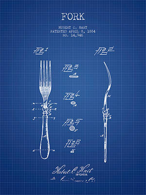 Fork Patent From 1884 - Blueprint Art Print by Aged Pixel