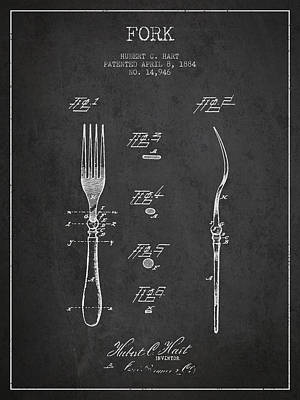 Fork Patent From 1884 - Dark Art Print by Aged Pixel