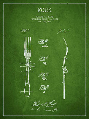 Fork Patent From 1884 - Green Art Print by Aged Pixel