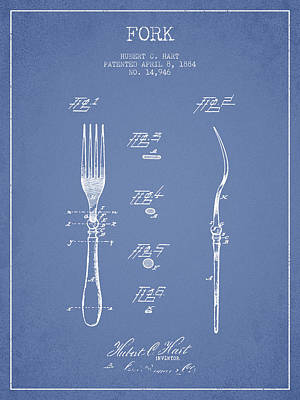 Fork Patent From 1884 - Light Blue Art Print by Aged Pixel