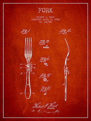 Fork Patent From 1884 - Red Art Print by Aged Pixel
