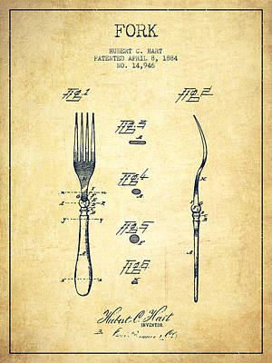 Fork Patent From 1884 - Vintage Art Print by Aged Pixel