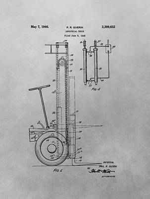 Vintage Truck Drawing - Forklift Patent Drawing by Dan Sproul