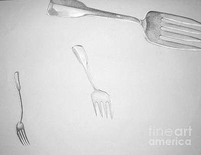 Drawing - Forks by Tamir Barkan
