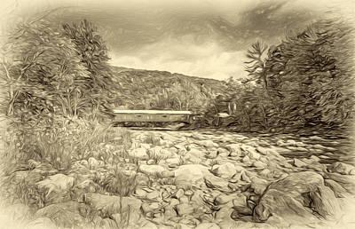 Antique Photograph - Forksville Covered Bridge 2 - Antique Sepia by Steve Harrington