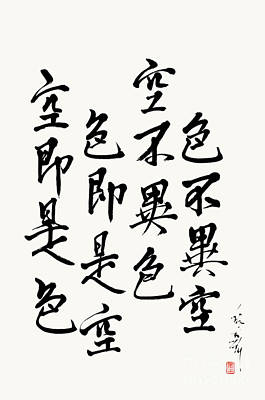Heart Sutra Wall Art - Painting - Form Is Emptiness Verse From The Heart Sutra by Nadja Van Ghelue