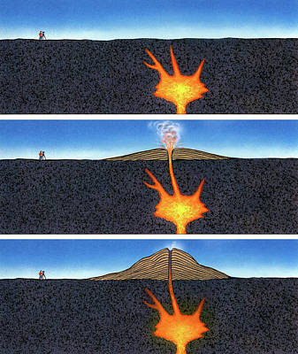 Magma Photograph - Formation Of A Volcano by David A. Hardy