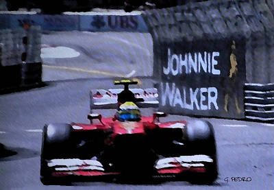 Painting - Formula 1 Racer Passes A Johnnie Walker Sign by George Pedro