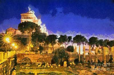 Painting - Foro Traiano In Rome by George Atsametakis