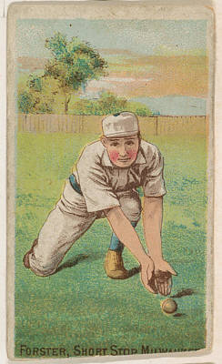 Baseball Cards Drawing - Forster, Shortstop, Milwaukee by D. Buchner & Co., New York