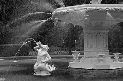 Photograph - Forsyth Fountain Detail - Black And White by Suzanne Gaff
