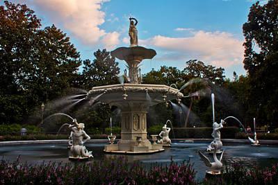 Photograph - Forsyth Park Fountain Savannah Sunset  by John McGraw