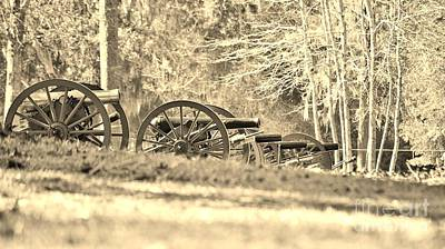 Photograph - Fort Anderson Civil War Cannons In Sepia by Jocelyn Stephenson
