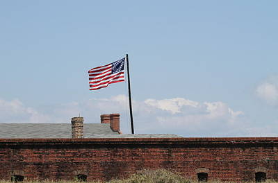 Fort Clinch And Us Flag Art Print by Cathy Lindsey