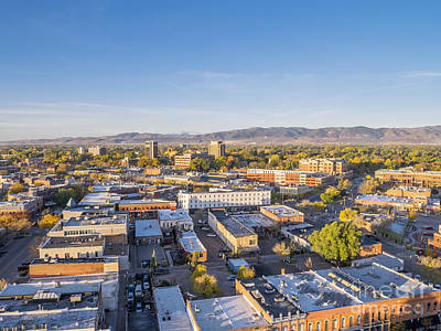 Fort Collins Downtown Aerial View Art Print