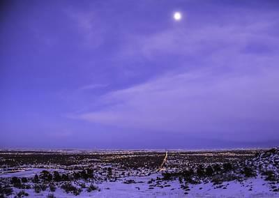 Fort Collins Winter Moon Art Print