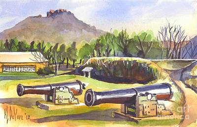 Park Scene Painting - Fort Davidson Cannon by Kip DeVore