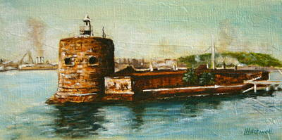Painting - Fort Denison 1930's - Pinchgut by Lyndsey Hatchwell