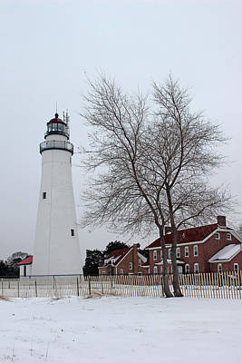 Photograph - Fort Gratiot Light In Winter 5 by Mary Bedy