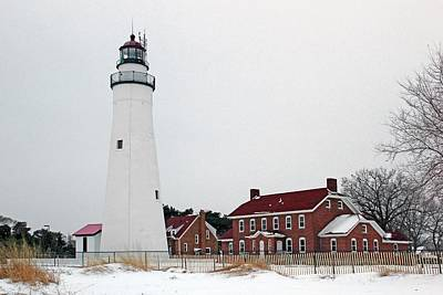 Photograph - Fort Gratiot Light In Winter 8 by Mary Bedy
