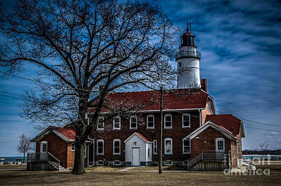 Photograph - Fort Gratiot Lighthouse And Buildings With Clouds by Ronald Grogan