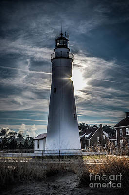 Photograph - Fort Gratiot Lighthouse And Sun by Ronald Grogan